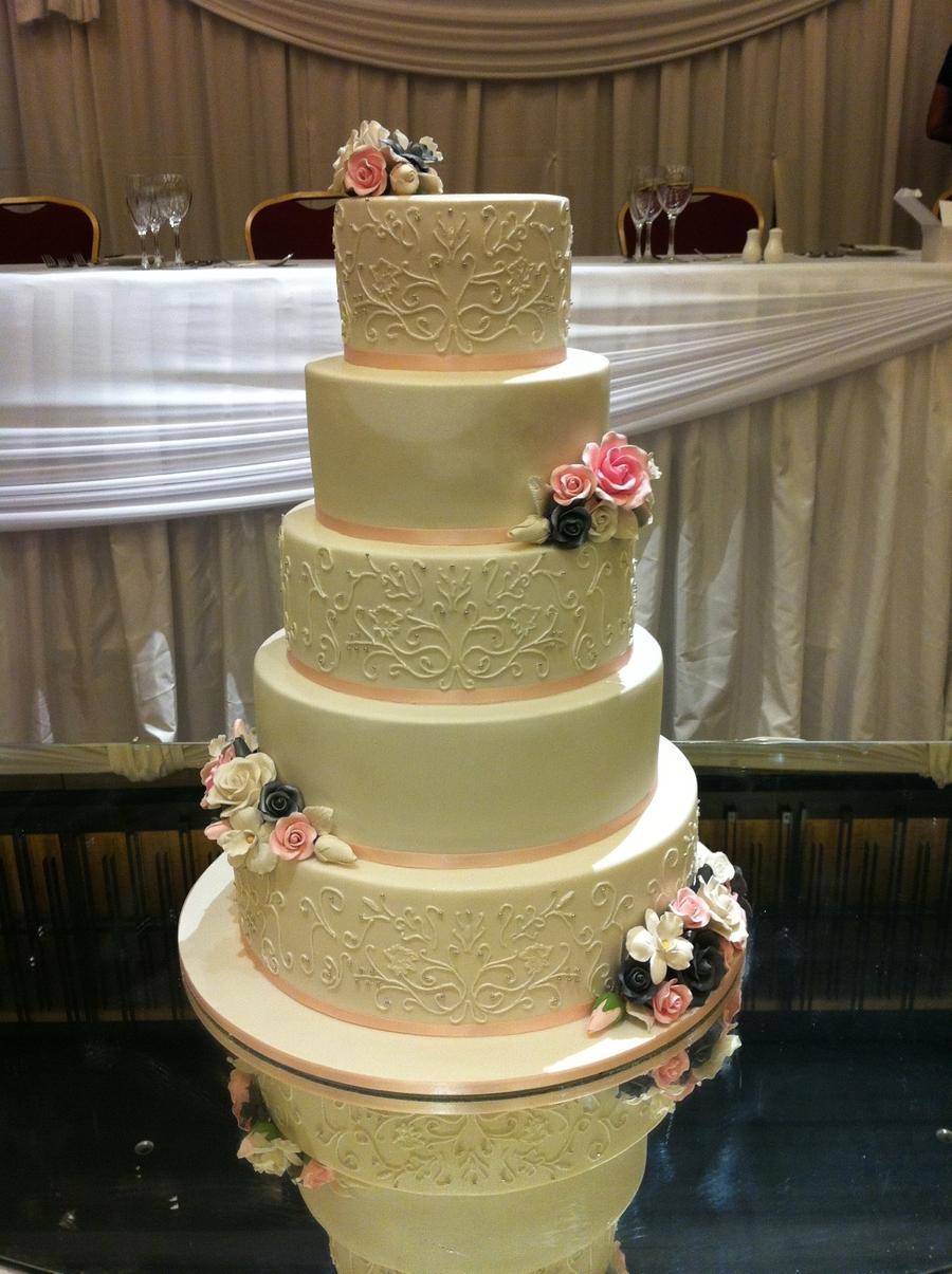 Free Hand Royal Icing Grand 5 Tier Cake W Roses Design Sugar Wedding Singapore Elegant White