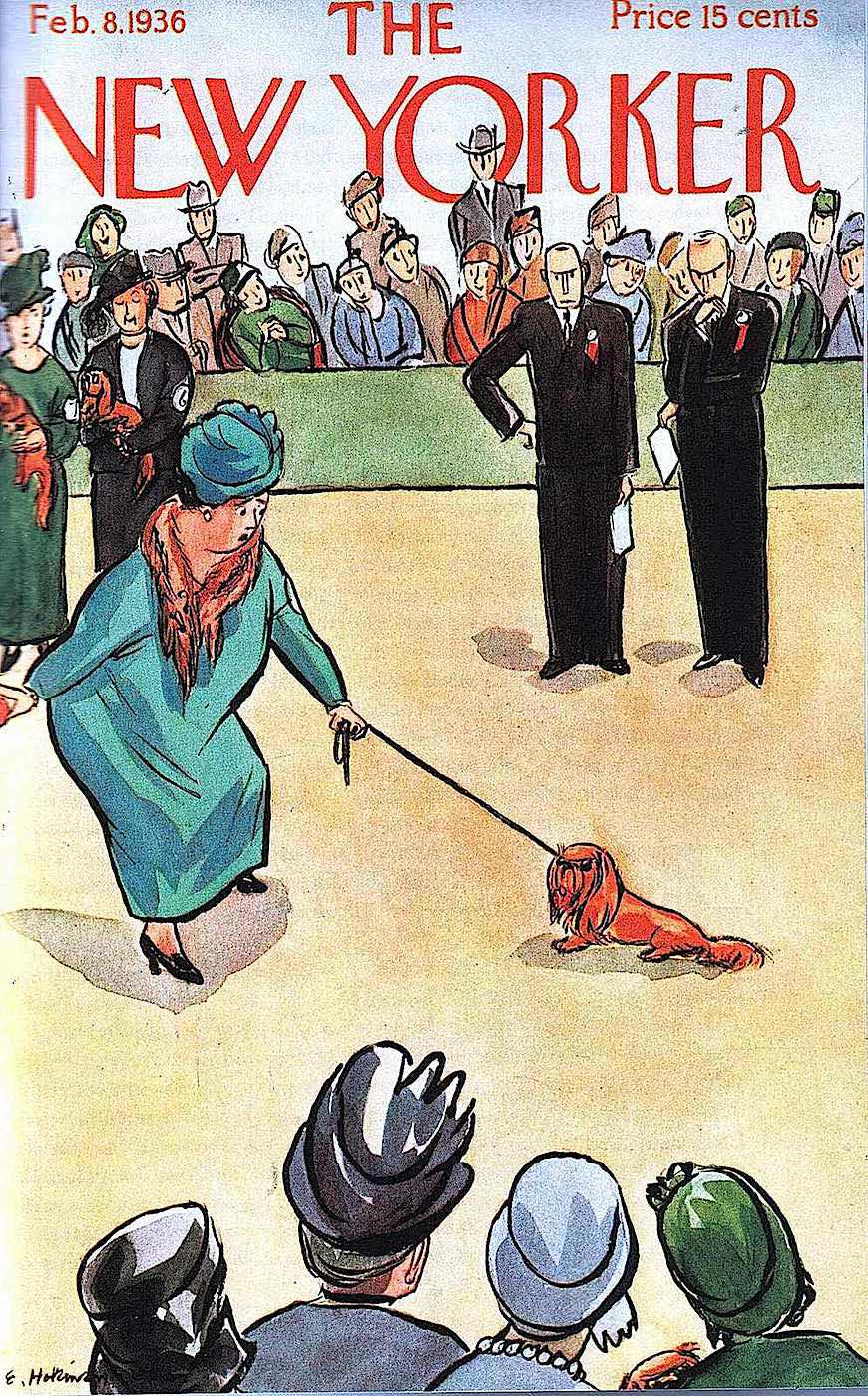 a Helen Hokinson cartoon of a dog show, New Yorker cover 1936