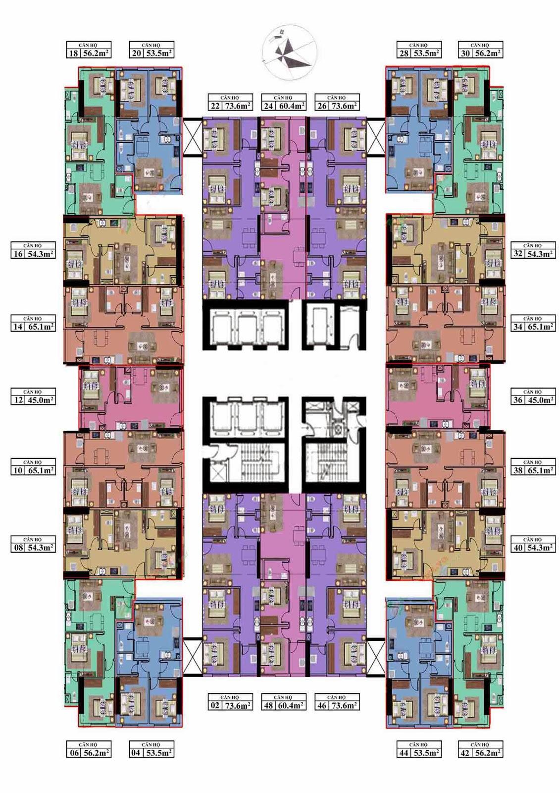 Mặt bằng tổng thể chung cư  kim văn kim lũ CT12 tầng 03- Tầng 42