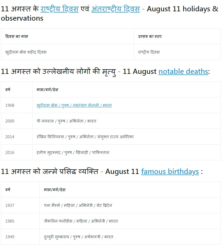 History of 11 August