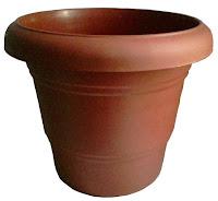 terracotta colour round garden plastic pots