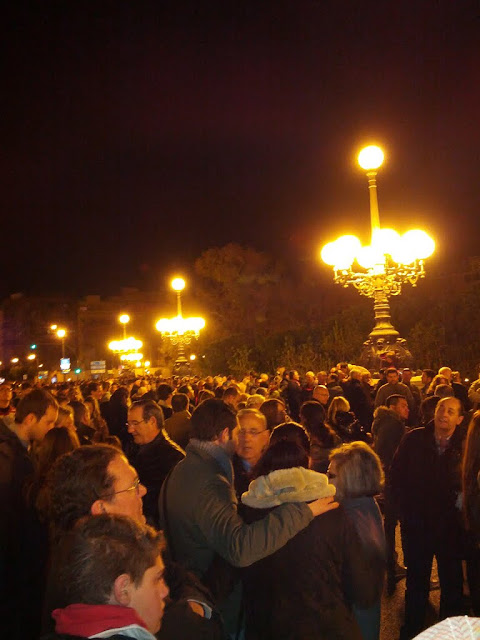 Las Fallas, Valencia, Spain - Crowds waiting to watch fireworks