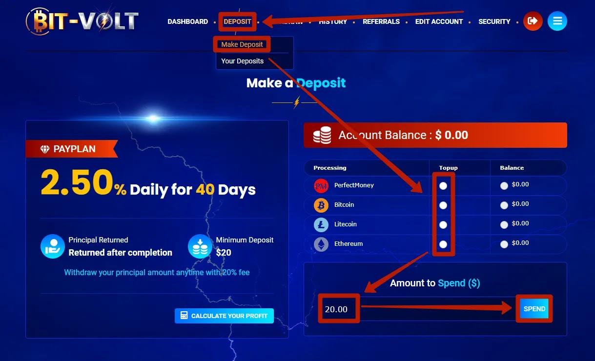 Пополнение баланса в Bit-Volt
