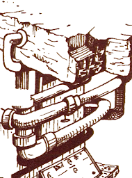Artist's conception of the dam controls from the 1980 text adventure, Zork I