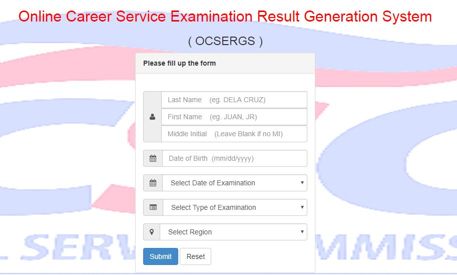 Online Verification of Rating OCSERGS: March 2018 Civil Service Exam CSE-PPT
