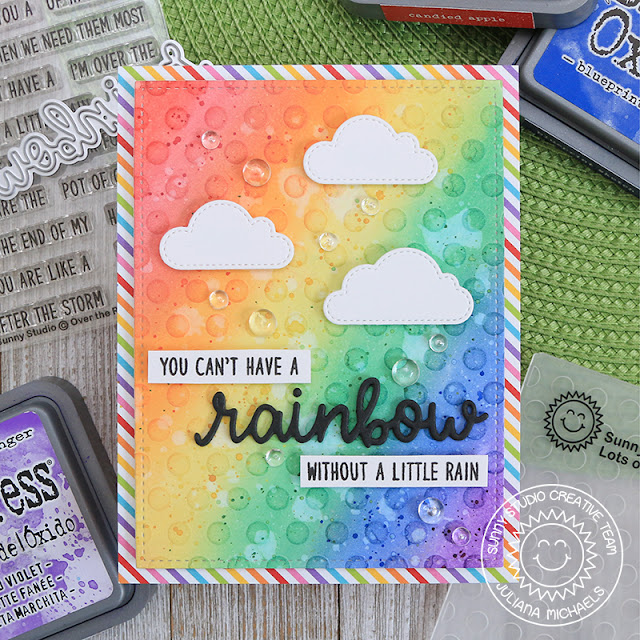 Sunny Studio Stamps: Rainbow Word Die Over The Rainbow Fluffy Clouds Frilly Frames Dies Everyday Card by Juliana Michaels