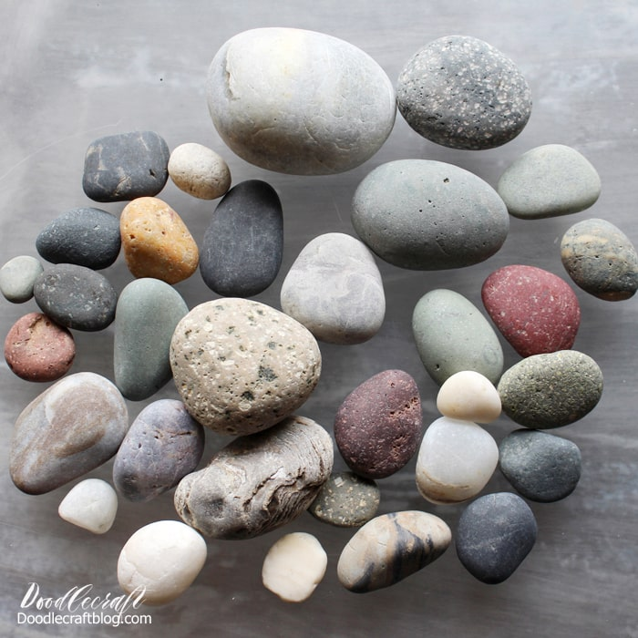 Round river washed smooth stones