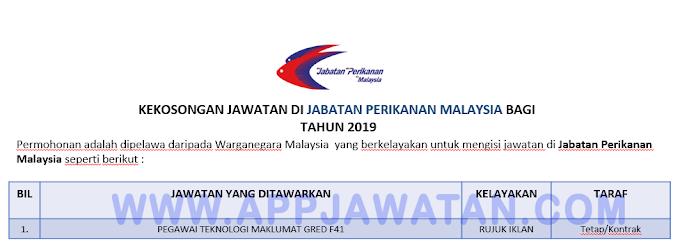 Jawatan Kosong Terkini di Jabatan Perikanan Malaysia.