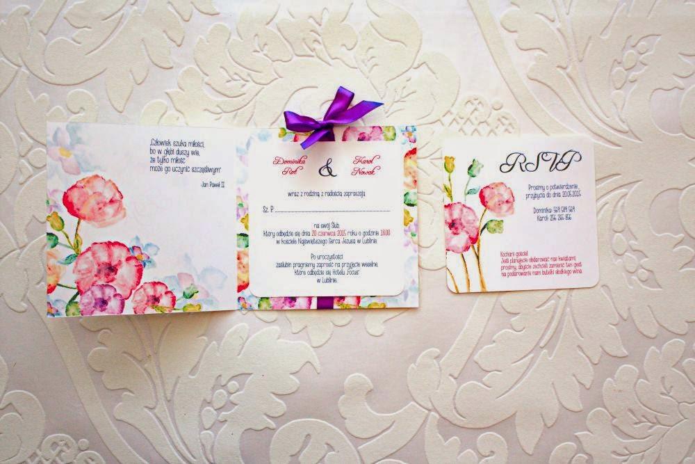 Kolorowe zaproszenia ślubne z wkładką Akwarelove by Artirea