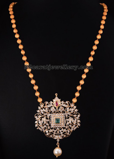 Diamond Pendant with Gold Beads Chain