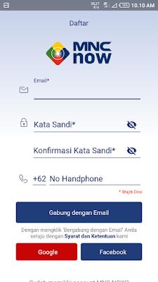 halaman depan login aplikasi mnc now