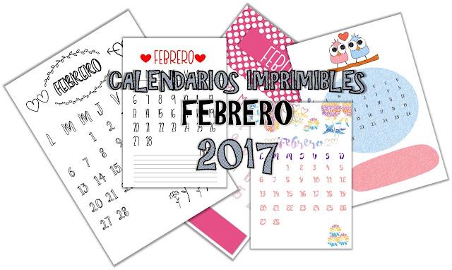 calendarios, febrero, 2017, imprimibles,descargar, gratis