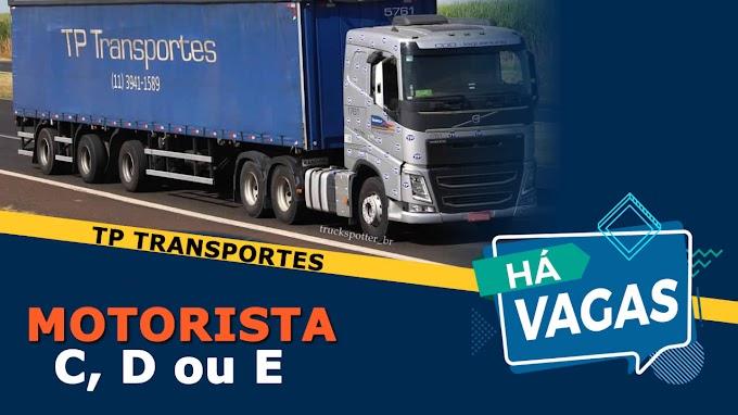 TP Transportes abre vagas para Motorista categoria C, D ou E