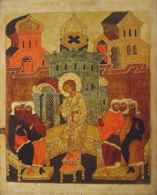 Menino Jesus ensinando no templo