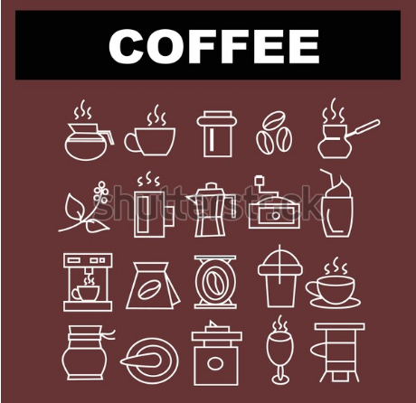vector illustration collection coffe equipment sign icon