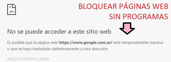 Bloquear páginas Webs sin programas