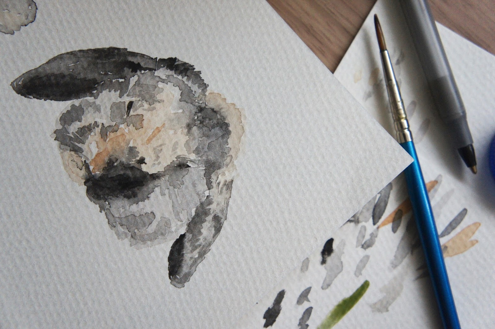 little detours watercolour painting rabbit