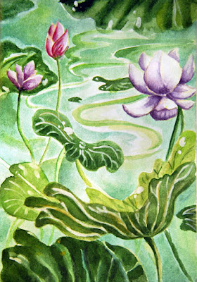 Plants for pond and lakes watercolour