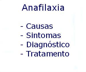 Anafilaxia causas sintomas diagnóstico tratamento prevenção riscos complicações