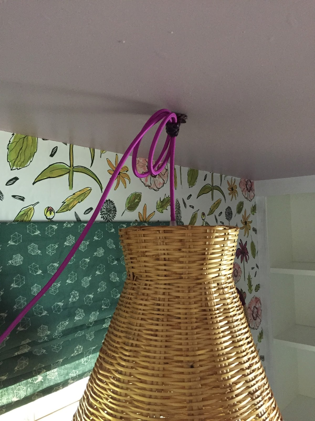 Easy DIY basket pendant light and cord mount.  It's a pretty inexpensive way to add style and actual, literal light to a part of your home.