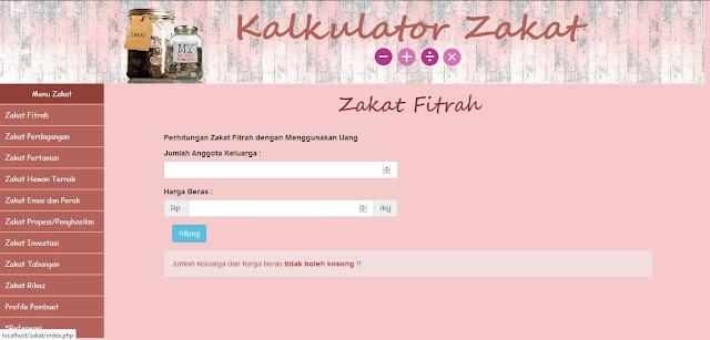 Source Code PHP Kalkulator Zakat Fitrah