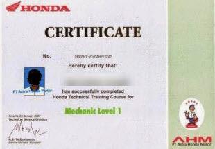 Setifikat Mekanik Honda