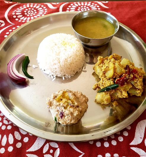 Aloo Posto with Kalai Dal, Aloo Posto, Kalai Dal