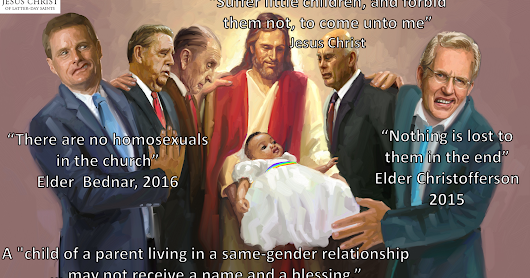 The babies of mormon gays may not be blessed.
