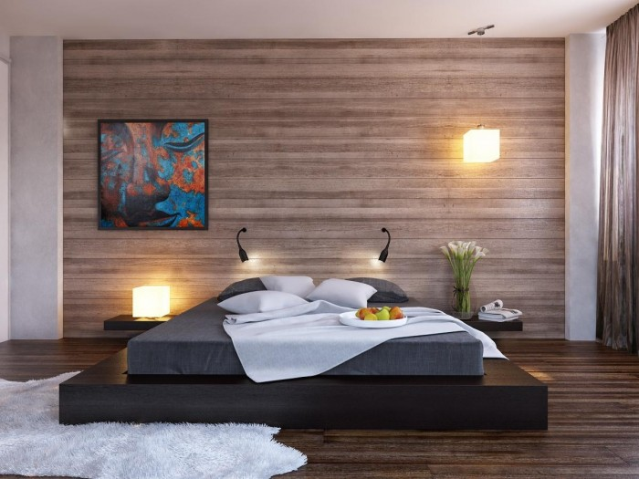 Wood clad walls as seen on smart new build exteriors work over expanses of interior walls too an ideal application is a bedroom feature wall where the