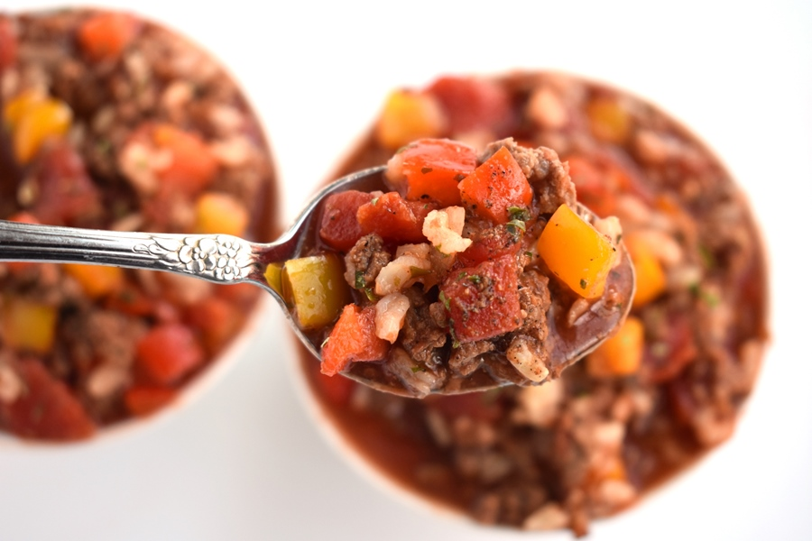 spoonful of stuffed bell pepper soup