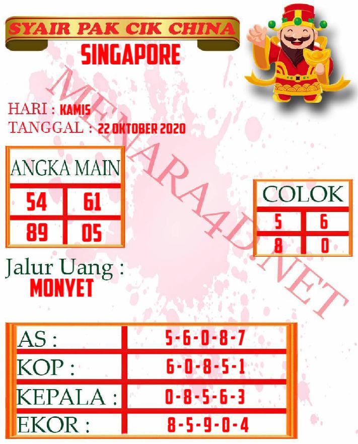Kode syair Singapore Kamis 22 Oktober 2020 153