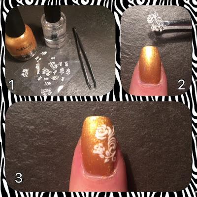 l'immagine rappresenta tre foto: nelle quali ci sono gli strumenti e l'unghia del prima e del dopo del utilizzo del adesivo bianco