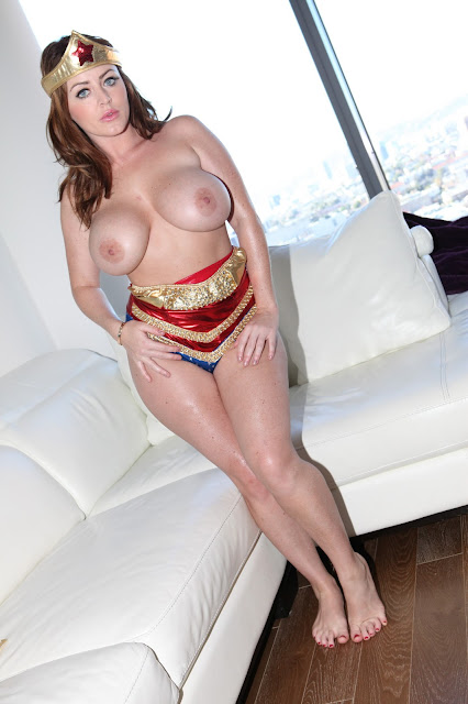 Sophie Dee sexy wonder woman naked boobs front pose