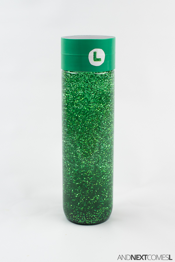 How to make a sensory bottle inspired by Luigi