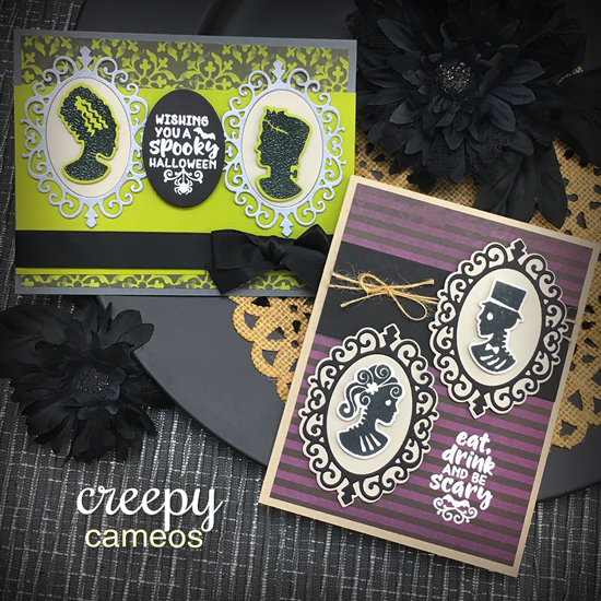 Halloween Cards by Jennifer Jackson | Creepy Cameos Stamp Set & Cameo Frame Die Set by Newton's Nook Designs #newtonsnook #handmade