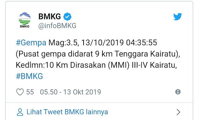 BMKG Rilis Dua Gempa, Di Wilayah Indonesia Timur