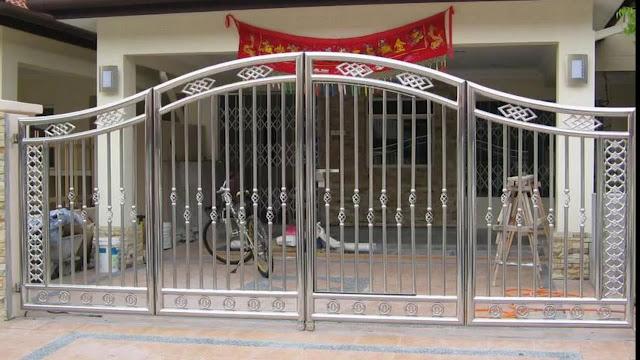 cổng inox 4 cánh đẹp - mẫu 2