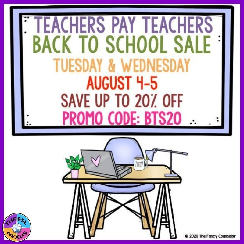 Find out about the 2020 TpT Back to School Sale & new resources plus a giveaway by The ESL Nexus!