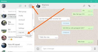 cara keluar dari whatsapp web di laptop