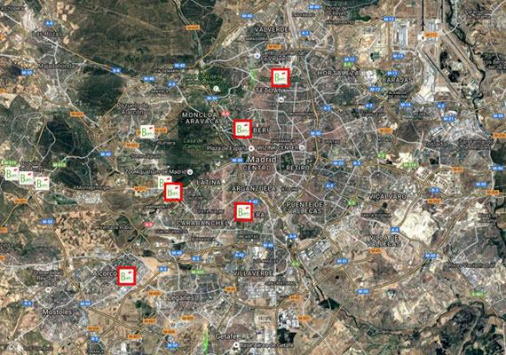 Mapa de aparcabicis REB en el Transporte Público - pincha para ampliar el plano
