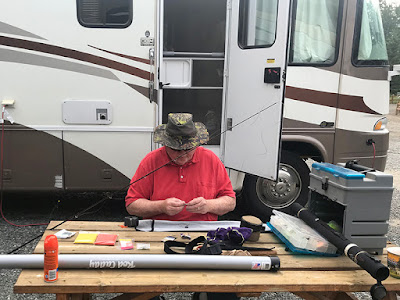 Paul Working on Our Fishing Gear
