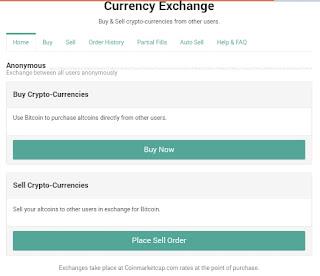 خدمة بيع و شراء العملات الرقمية