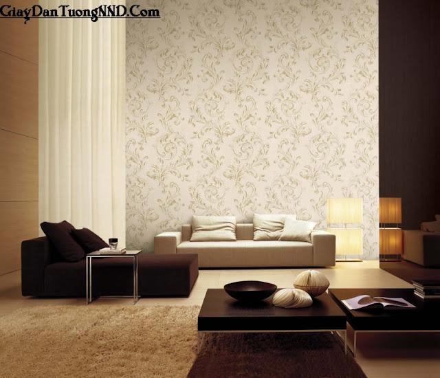 Sử dụng giấy dán tường cho phòng khách rộng