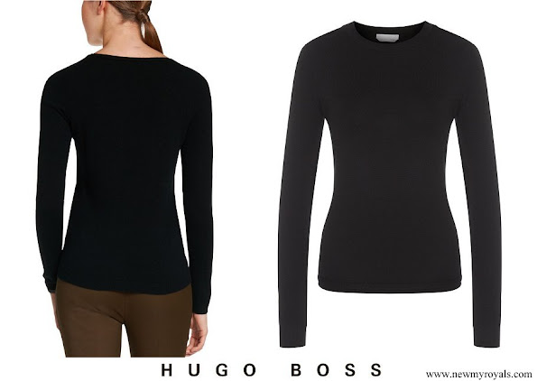Queen Letizia wore Hugo Boss cashmere sweater black