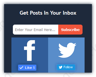 Stylish email subscription form with social media for blogger