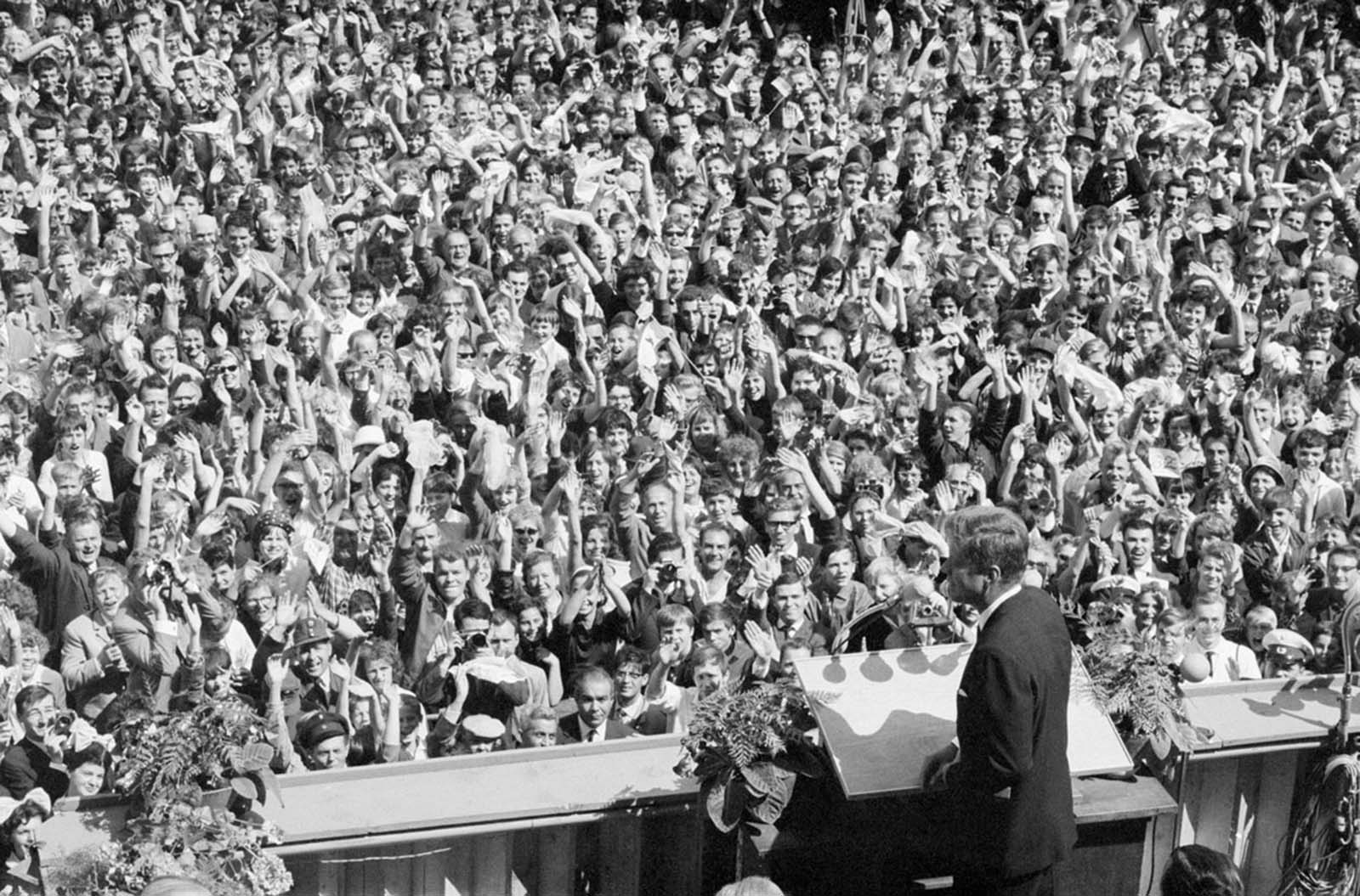 President John F. Kennedy stands before a huge crowd in West Berlin on June 26, 1963. Here he made his famous declaration: