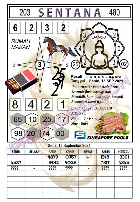 Syair Sentana Singapura Senin 13-09-2021
