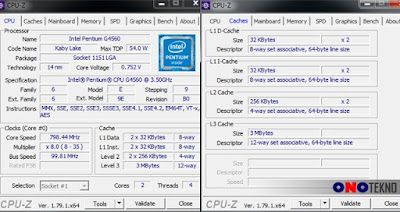 Detail dari Dual Core Intel G4560 ( CPU-Z )