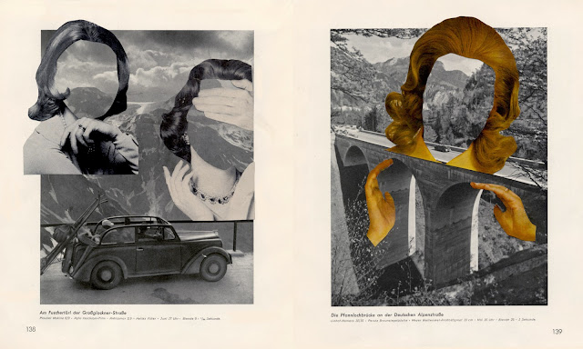 Collages in altered book, My Mountain, My Camera