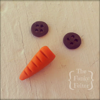 easy carrot nose and button eyes polymer clay craft tutorial by the funky felter